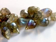 Бусина огранённая, форма-мелкий бриолет, камень натуральный-лабрадор (спектролит), огранка ручная, цвет-серый с переливом