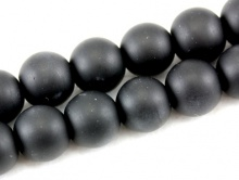 Бусина–шунгит черный, гладкий, матовый (имитация), цвет-угольно-черный,