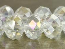 Бусина из стекла,   10 мм./за 5 шт. цвет белый прозрачный