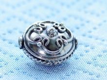 Бусина ручной работы, серебряная (серебро 92.5 %,) 1 штука