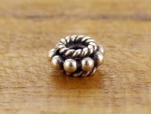 Бусина-распорка серебряная, гранулированная, ручная работа. Состав-серебро 925 пробы