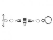Набор серебристой фурнитуры для плетеных 3-х мм. шнуров Kumihimo