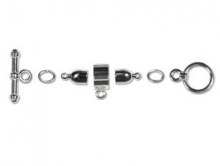 Набор серебристой фурнитуры для плетеных 4-х мм. шнуров Kumihimo