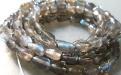 Нить бусин из натурального лабрадора, форма гладких вытянутых капелек, размер 7х4.8 +0.2 мм. внутреннее отверстие 0.4 мм.