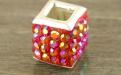 Бусина серебряная со стразами цвет красный для браслетов в стиле Пандора (бусины с большим внутренним отверстием, не менее 4 мм.).