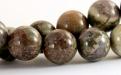 Бусины круглые гладкие, камень–яшма натуральная, цвет микс-зеленый, серо-коричневый, ближе к цвету какао