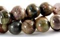 Бусины круглые полированные, камень–яшма натуральная., цвет микс-приглушенные: зеленый, серо-коричневый, ближе к цвету какао.