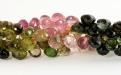 Бусины огранённые формы маленьких луковок, камень натуральный турмалин, цвет микс-розовый, зеленый, жёлтый,