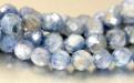 Бусина гранёный шарик из натурального камня-кианит, размер–5.8 (+-0.2) мм. внутреннее отверстие 0.8 мм.