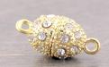 Магнитный замочек-застежка со стразами для изготовления украшений,  размер замочка 25х11 мм. (ширина 11 мм., длина-25 мм.) вн. отв. 1.3 мм. цвет: золото,