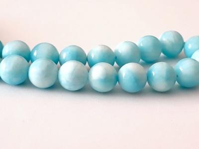 Бусина круглая-ларимар натуральный гладкий шар. Размер-6.5+-0,1 мм. внутреннее отверстие 1.0 мм. Цвет голубой тёплый, с характерным рисунком,