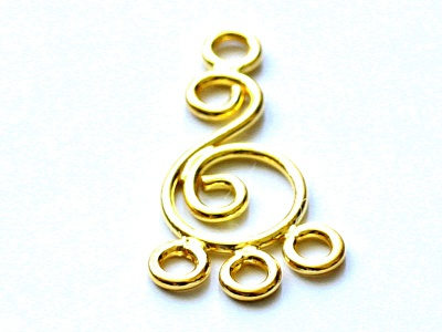Подвеска -люстра позолоченная из стерлинг. серебра на швензу, материал-серебро 925 пробы (92,5%)+покрытие золото 24 kr.,