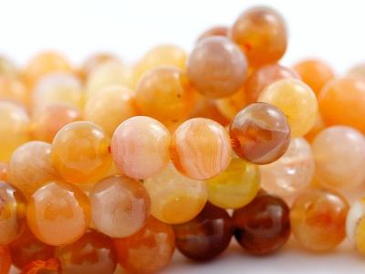 Бусина-агат, гладкий, форма шарик 7 мм., цвет-красивый персиково-оранжевый