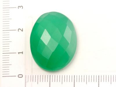 Кабошон средний гранёный, из зелёного хризопраза, для изготовления кулонов в украшениях Handmade. Средний размер: 25.5х20.2х6.5 мм.