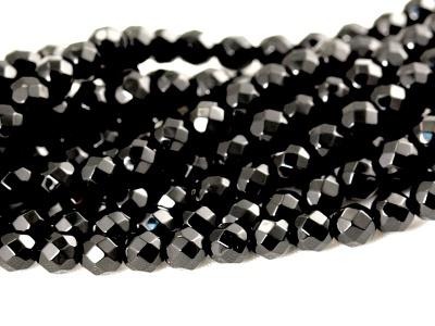 Бусина огранёная 4 мм.-камень агат черный. Цвет-угольно-черный. Диаметр-4 мм. вн. отв. 0.8 мм.