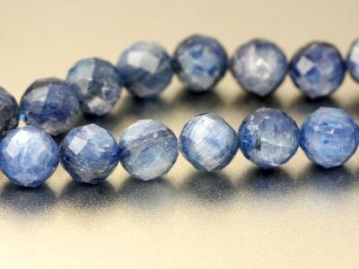 Бусина гранёный шарик из натурального камня-кианит, Цвет-холодный голубой