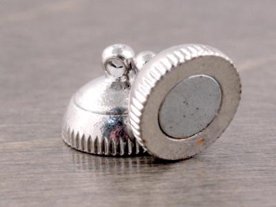 Магнитный замочек-застежка для изготовления украшений, размер замочка: вн. отв. 1.3 мм. цвет: серебро,