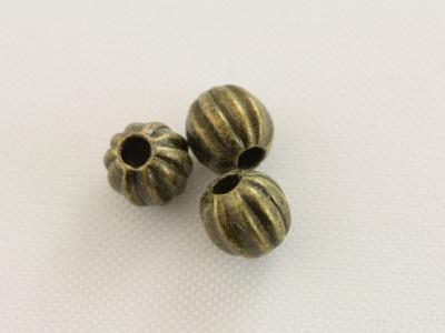 Бусина-разделитель металлический рифленый шарик.  Размер в/ш-4,2х4,4 мм.