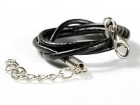 Шнурок кожаный2 мм. черный с замочком серебристым, длина-45 см. с цепочкой удлинителем 4 см.