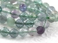 Нить бусин огранённых, форма-шарик, камень натуральный-флюоритцвет-микс прозрачный (голубой, зеленый, сиреневый).