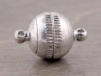 Магнитный замочек-застежка для изготовления украшений, размер замочка: общ. длина/диаметр-12 мм., длина-19 мм. вн. отв. 1.3 мм. цвет: серебро,