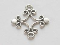 Коннектор серебряный ручной работы, для создания ювелирных украшений Handmade, размер-19х17.5х1.5 мм. материал-серебро 925 пробы