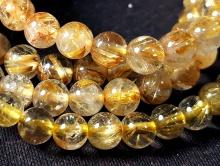 Бусины полированные круглые, камень натуральный-рутиловый кварц золотистый (волосатик).