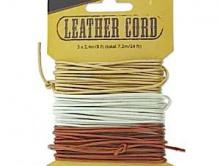 Набор  шнуров круглых кожаных 1 мм. из 3-х цветов,