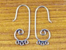Швензы из серебра 925 пробы, 27х7 мм. основа для серёг с тремя подвесками