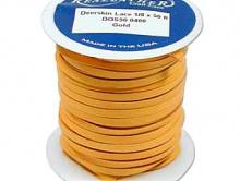 Мягкий кружевной кожаный плоский шнур 3 мм. (одна сторона гладкая мягкая кожа, а другая замша), цвет золотой,