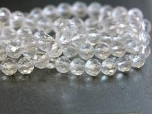 Нить бусин, форма-шарик круглый, камень натуральный-кварц (горный хрусталь), цвет-прозрачный бесцветный.