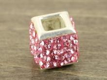Бусина серебряная со стразами, цвет светло-розовый  тёплый для браслетов в стиле Пандора (бусины с большим внутренним отверстием, не менее 4 мм.).