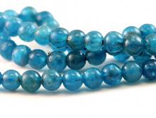 Ниточка бусин круглых, форма: гладкий шарик,камень натуральный-апатит,цвет-неоднородный сине-голубой теплый, сочный, красивая структура камня,