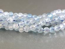 Бусины на нити. Камень-аквамарин натуральный, бусины форма-гогранённый шарик. Цвет-голубой, холодный