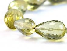 Бусина с продольным отверстием огранённая, камень натуральный-лимонный топаз