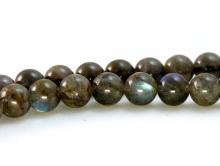 Бусина гладкая (полированная), каменьнатуральный лабрадор, цвет-темно-серыйс сине-голубым отливом на каждой бусине,