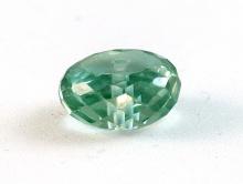Бусина рондель огранённая, искусственно выращенный камень - шпинель благородная, цвет-холодный зелёный, прозрачный.