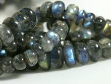 бусина рондель  гладкая, камень натуральный лабрадор с голубым переливом