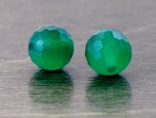 """Камень-натуральный хризопраз, бусина круглая огранённая, огранка """"соты"""", цвет-изумрудно-зеленый полупрозрачный,"""
