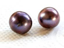 Бусины из жемчуга натурального речного (культивированный).Цвет-темно-серый,радужныйс шоколадным, сиреневатымпереливом,