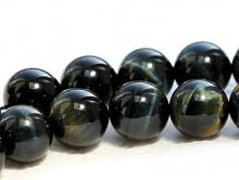 """Бусина из натурального камня–петерситнатуральный полированный """"Соколиный глаз"""","""