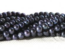 жемчуг натур., гладкий Цвет-черный,  с синеватым оттенком
