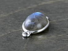 Коннектор серебряный со вставкой из лабрадора. Вставка-кабошон полированный, камень натуральный-лабрадор,