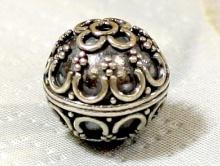 Бусина серебряная, круглая, ручной работы, восточного стиля.