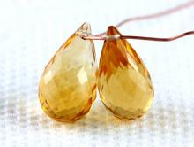 Бусинаограненная-крупный бриолет, камень-цитрин натуральный первосортный, цвет-сочный золотистый чистый, размер в/ш–15х8 мм. +-0.2 мм