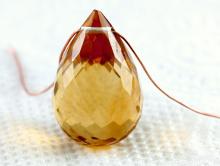 Бусинаограненная-крупный бриолет, камень-цитрин натуральный первосортный, цвет-сочный золотистый чистый,