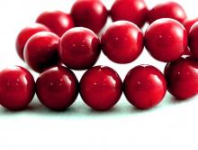 Бусины шарики-коралл натуральный, гладкий, цвет-Кроваво-красный, темный, размер–8,2. мм., вн. отв. 0.8 мм.