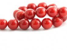 Коралл натуральный круглый, цвет-кроваво-красный