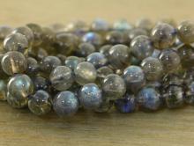 Бусина гладкая (полированная), камень натуральный лабрадор, цвет-серый, полупрозрачный с зелёно-голубым отливом, диаметр 6,5 +-0.2 мм вн.