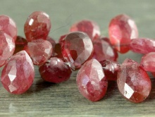 Бусина лепесток огранённый 6,3х5 мм. натуральный камень-корунд (рубин),